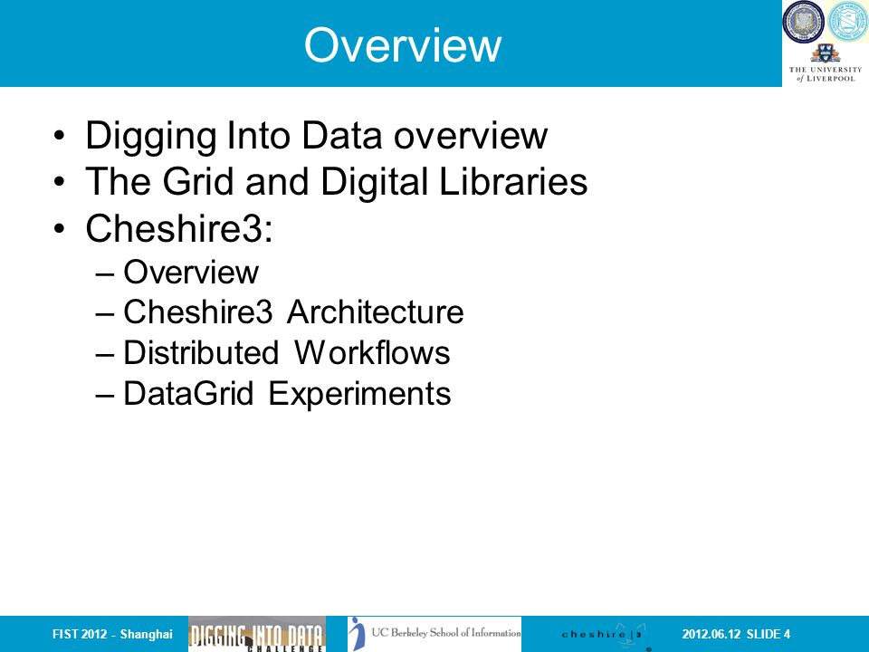 2012.06.12 SLIDE 15FIST 2012 - Shanghai Cheshire Digital Library System Cheshire was originally created at UC Berkeley and more recently co-developed at the University of Liverpool.