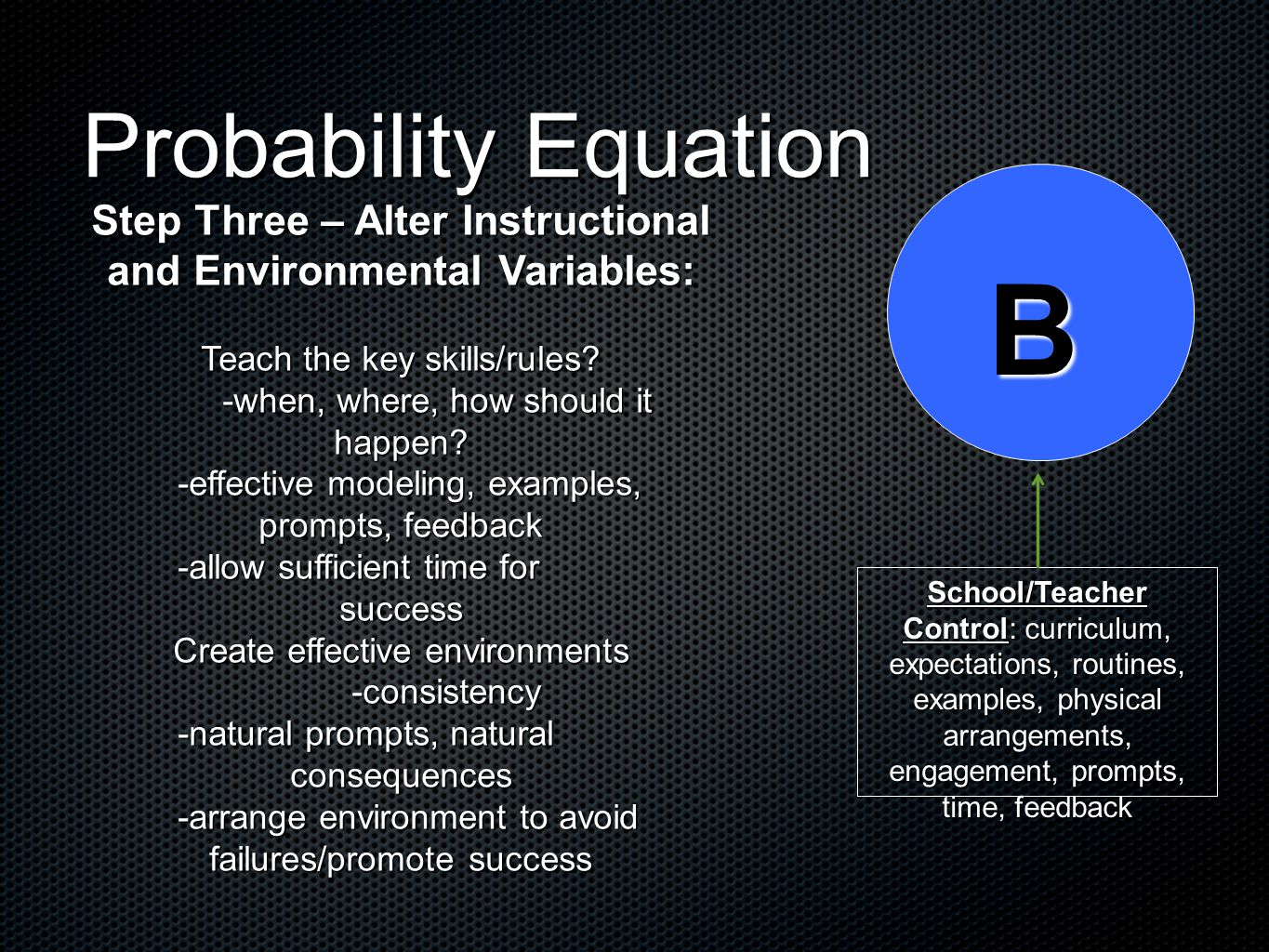 Probability Equation B School/Teacher Control: curriculum, expectations, routines, examples, physical arrangements, engagement, prompts, time, feedback Step Three – Alter Instructional and Environmental Variables: Teach the key skills/rules.