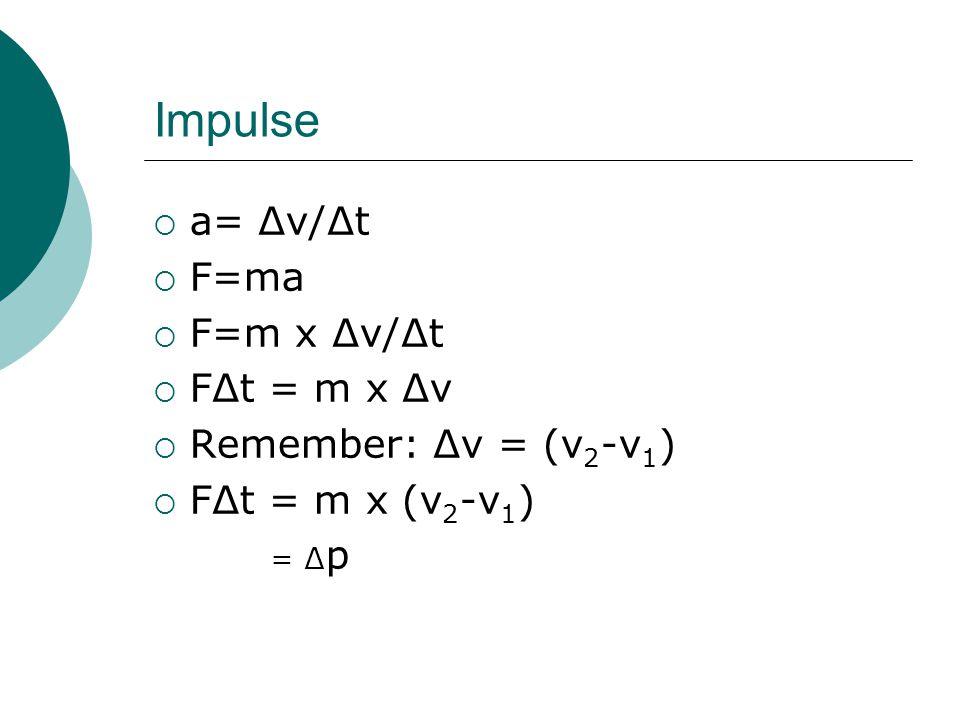 Impulse  a= ∆v/∆t  F=ma  F=m x ∆v/∆t  F∆t = m x ∆v  Remember: ∆v = (v 2 -v 1 )  F∆t = m x (v 2 -v 1 ) = ∆ p