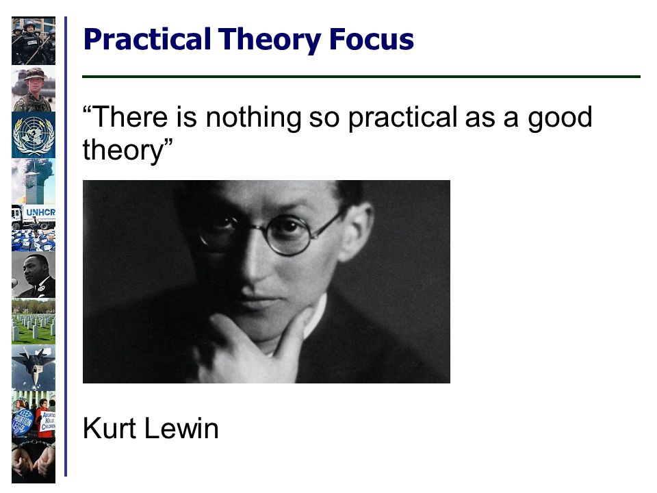 Practical Theory Focus There is nothing so practical as a good theory Kurt Lewin More adaptable than idiosyncratic case examples.