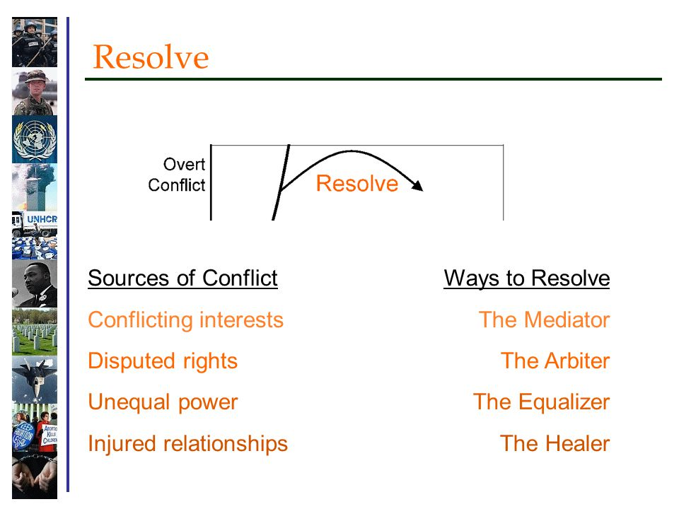 Resolve Sources of Conflict Conflicting interests Disputed rights Unequal power Injured relationships Ways to Resolve The Mediator The Arbiter The Equalizer The Healer
