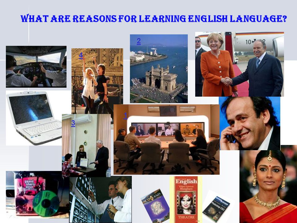 What are reasons for learning English language? 1 2 3 4