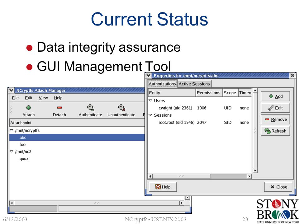 6/13/2003NCryptfs - USENIX 200323 Current Status Data integrity assurance GUI Management Tool