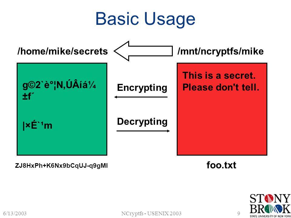 6/13/2003NCryptfs - USENIX 20039 Basic Usage /home/mike/secrets/mnt/ncryptfs/mike This is a secret. Please don't tell. foo.txt ZJ8HxPh+K6Nx9bCqUJ-q9gM