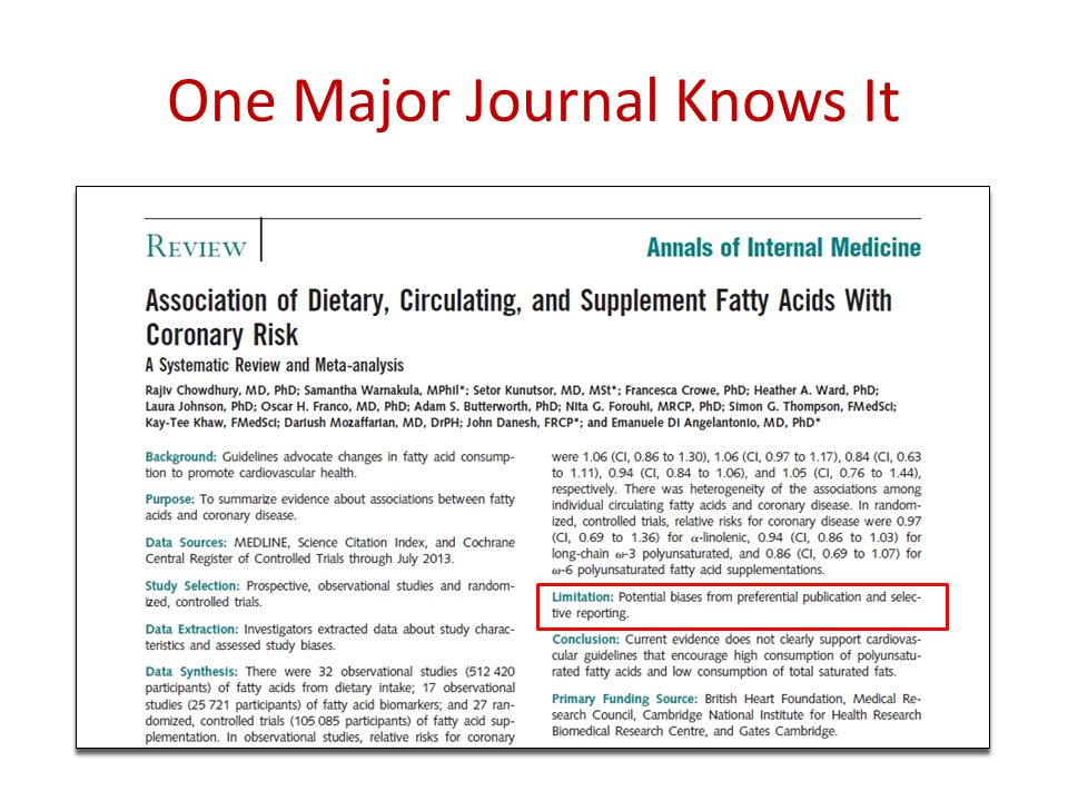 One Major Journal Knows It
