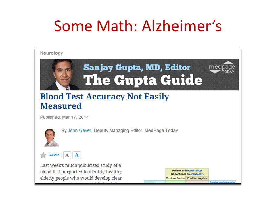 Some Math: Alzheimer's