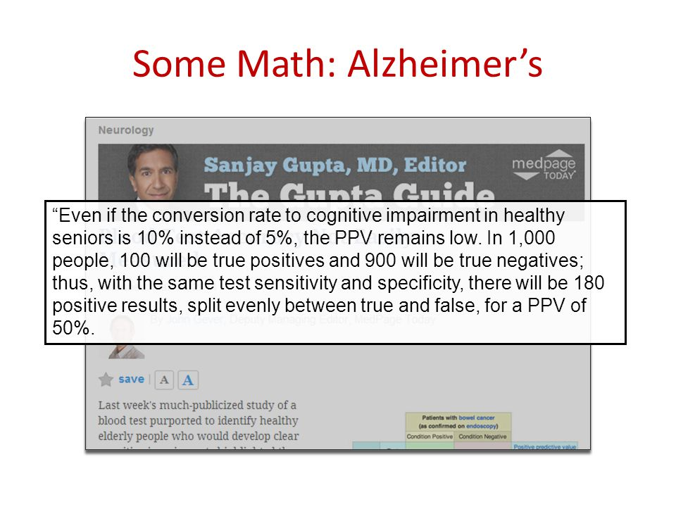 Some Math: Alzheimer's Even if the conversion rate to cognitive impairment in healthy seniors is 10% instead of 5%, the PPV remains low.