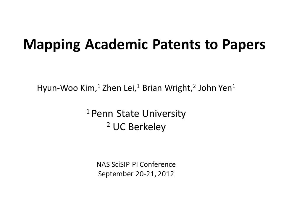 NSF SciSIP Project Collaborative Research: The Impacts of University Research and Funding Sources in Chemical Sciences: Publishing, Patenting, Commercialization PIs: Brian Wright (UC Berkeley) and Zhen Lei (Penn State) Role of research sponsor type (government or industry) on university research, patenting, technology transfer Publishing, patenting, licensing/ MTAs, and diffusion and follow-on research of university inventions Interplay between government and industry funding in university research