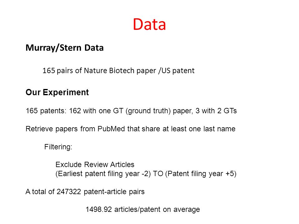 Data Murray/Stern Data 165 pairs of Nature Biotech paper /US patent Our Experiment 165 patents: 162 with one GT (ground truth) paper, 3 with 2 GTs Retrieve papers from PubMed that share at least one last name Filtering: Exclude Review Articles (Earliest patent filing year -2) TO (Patent filing year +5) A total of 247322 patent-article pairs 1498.92 articles/patent on average