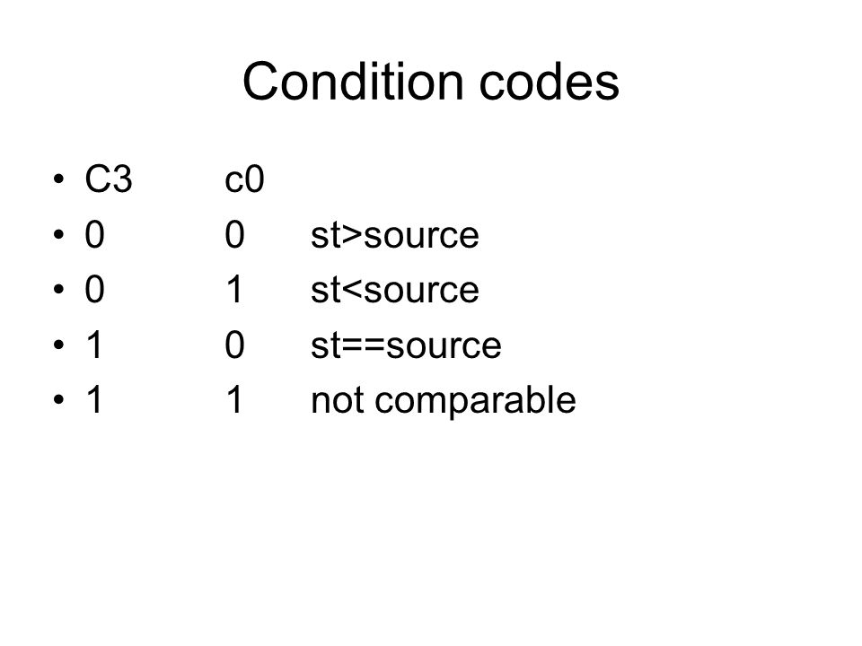 Condition codes C3c0 00st>source 01st<source 10st==source 11not comparable