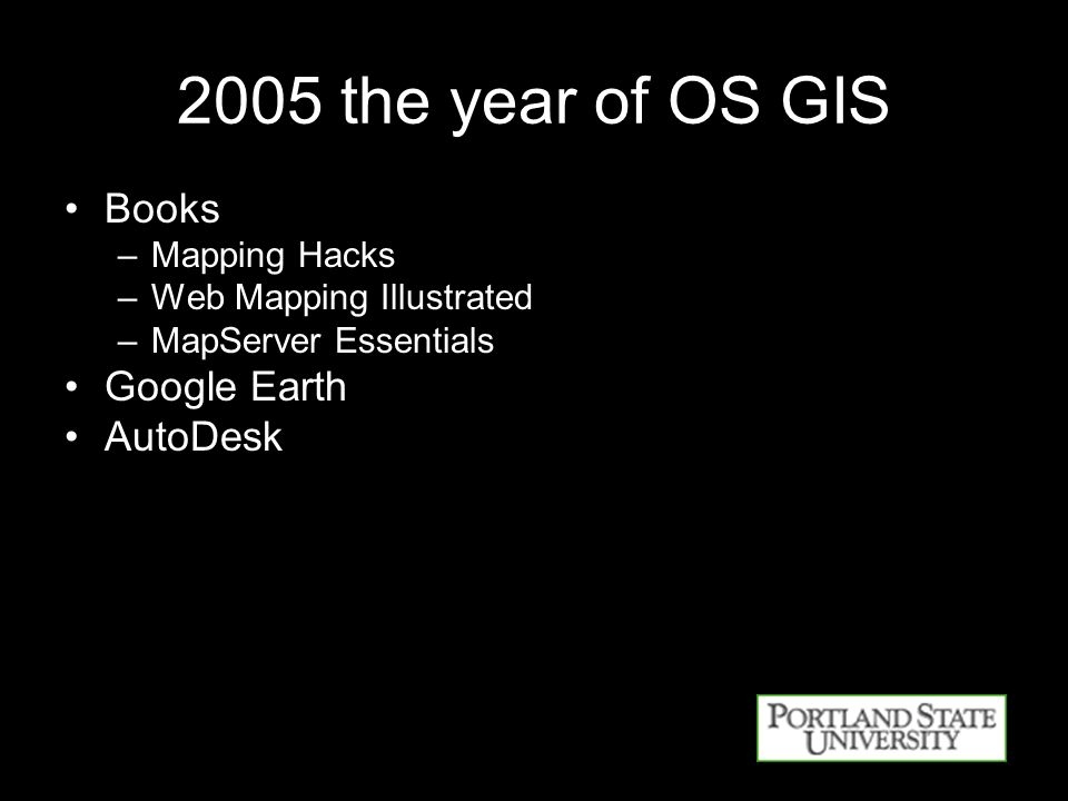 2005 the year of OS GIS Books –Mapping Hacks –Web Mapping Illustrated –MapServer Essentials Google Earth AutoDesk