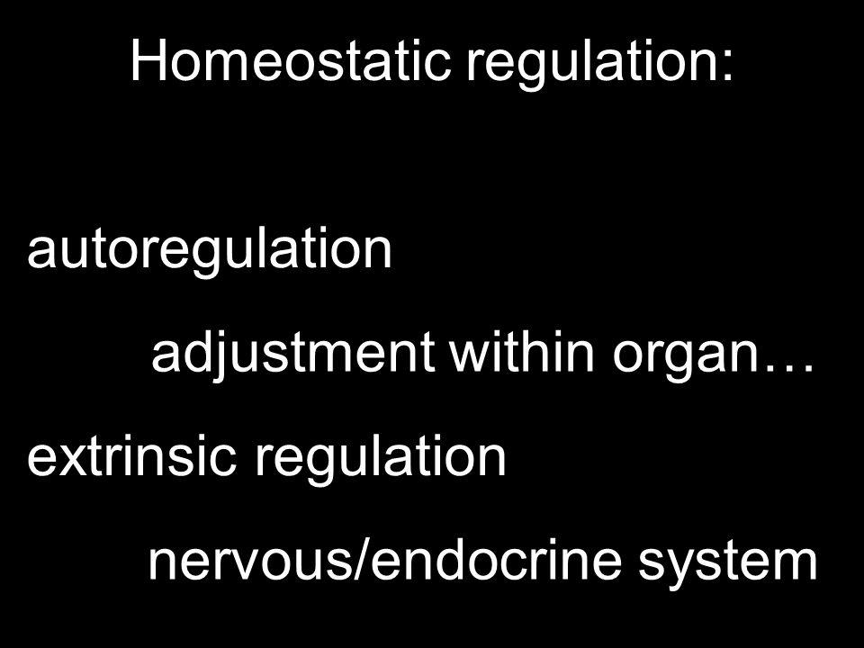Homeostatic regulation: autoregulation extrinsic regulation adjustment within organ… nervous/endocrine system