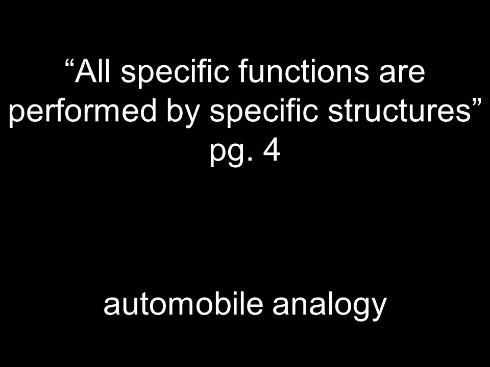 """""""All specific functions are performed by specific structures"""" pg. 4 automobile analogy"""