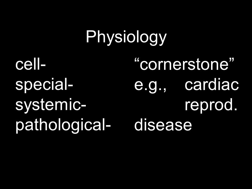 """Physiology cell- special- systemic- pathological- """"cornerstone"""" e.g.,cardiac reprod. disease"""