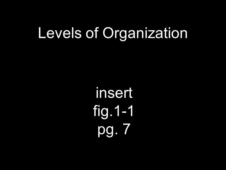 Levels of Organization insert fig.1-1 pg. 7