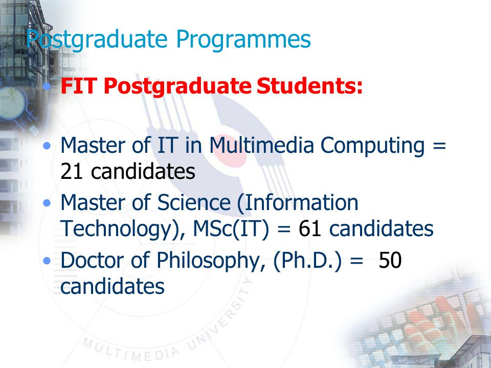 Postgraduate Programmes FIT Postgraduate Students: Master of IT in Multimedia Computing = 21 candidates Master of Science (Information Technology), MSc(IT) = 61 candidates Doctor of Philosophy, (Ph.D.) = 50 candidates
