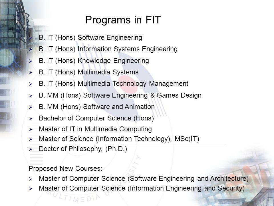Programs in FIT  B. IT (Hons) Software Engineering  B.