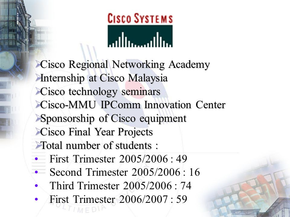  Cisco Regional Networking Academy  Internship at Cisco Malaysia  Cisco technology seminars  Cisco-MMU IPComm Innovation Center  Sponsorship of Cisco equipment  Cisco Final Year Projects  Total number of students : First Trimester 2005/2006 : 49 Second Trimester 2005/2006 : 16 Third Trimester 2005/2006 : 74 First Trimester 2006/2007 : 59