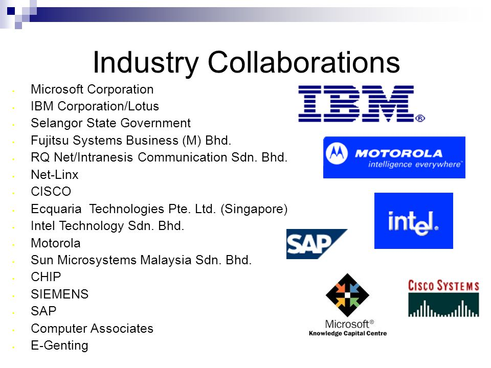 Industry Collaborations Microsoft Corporation IBM Corporation/Lotus Selangor State Government Fujitsu Systems Business (M) Bhd.