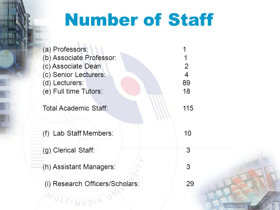 Number of Staff (a) Professors: 1 (b) Associate Professor: 1 (c) Associate Dean 2 (c) Senior Lecturers: 4 (d) Lecturers:89 (e) Full time Tutors:18 Total Academic Staff:115 (f) Lab Staff Members: 10 (g) Clerical Staff: 3 (h) Assistant Managers: 3 (i) Research Officers/Scholars: 29