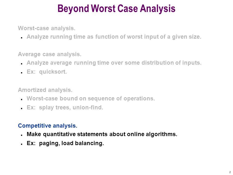 2 Beyond Worst Case Analysis Worst-case analysis.