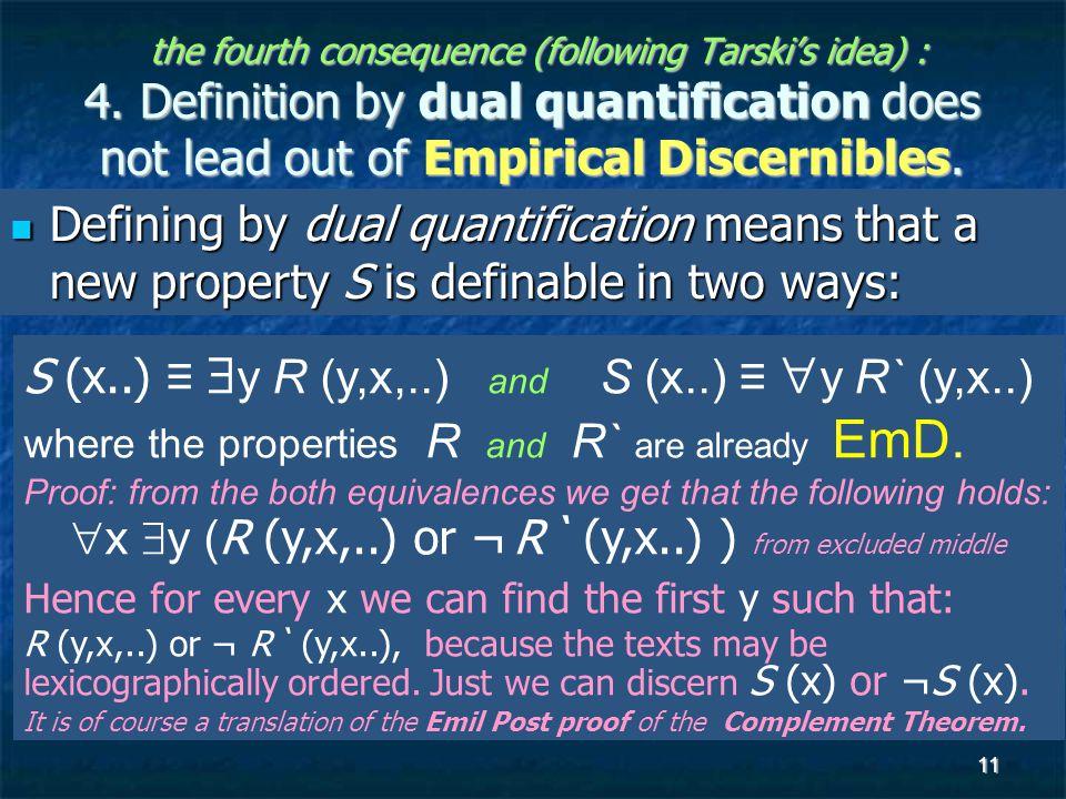 11 the fourth consequence (following Tarski's idea) : 4.