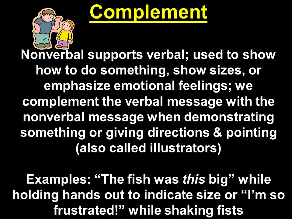 Complement Nonverbal supports verbal; used to show how to do something, show sizes, or emphasize emotional feelings; we complement the verbal message