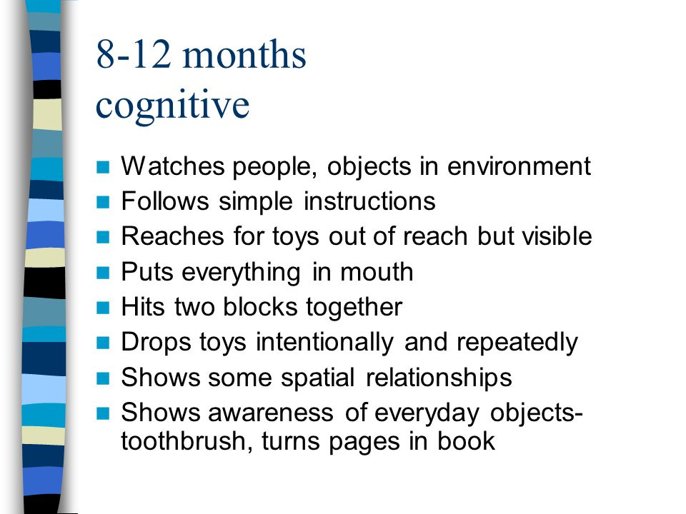 8-12 months cognitive Watches people, objects in environment Follows simple instructions Reaches for toys out of reach but visible Puts everything in mouth Hits two blocks together Drops toys intentionally and repeatedly Shows some spatial relationships Shows awareness of everyday objects- toothbrush, turns pages in book
