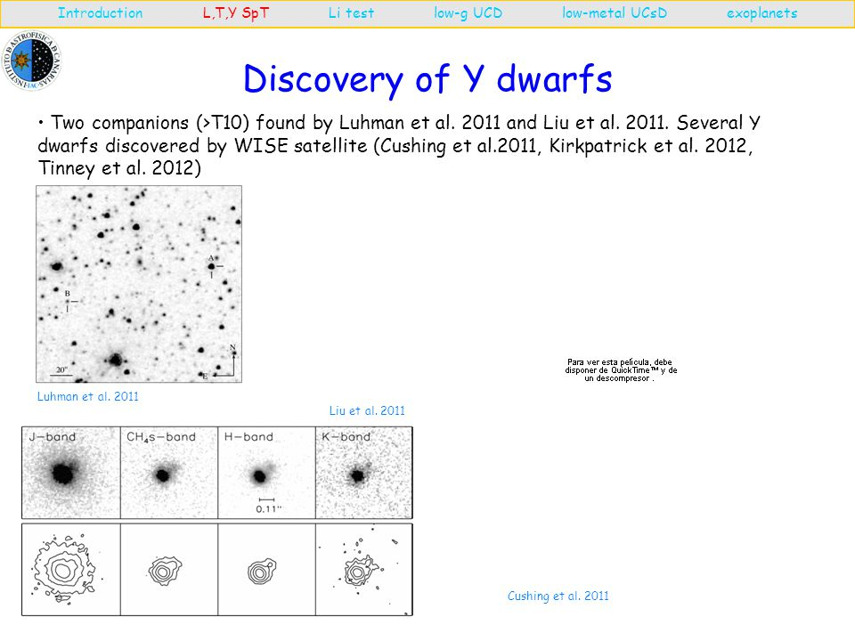 Discovery of Y dwarfs Introduction L,T,Y SpT Li test low-g UCD low-metal UCsD exoplanets Luhman et al.