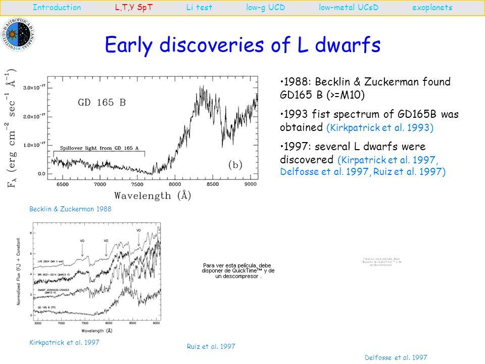 Spectral type definition: L dwarfs Introduction L,T,Y SpT Li test low-g UCD low-metal UCsD exoplanets In 1997 Kirkpatrick proposed a new spectral types and suggest H , L , T or Y letters Martín et al.