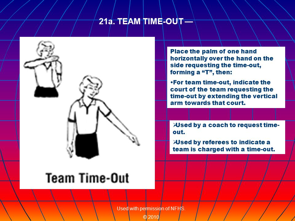 Place the palm of one hand horizontally over the hand on the side requesting the time-out, forming a T , then: For team time-out, indicate the court of the team requesting the time-out by extending the vertical arm towards that court.