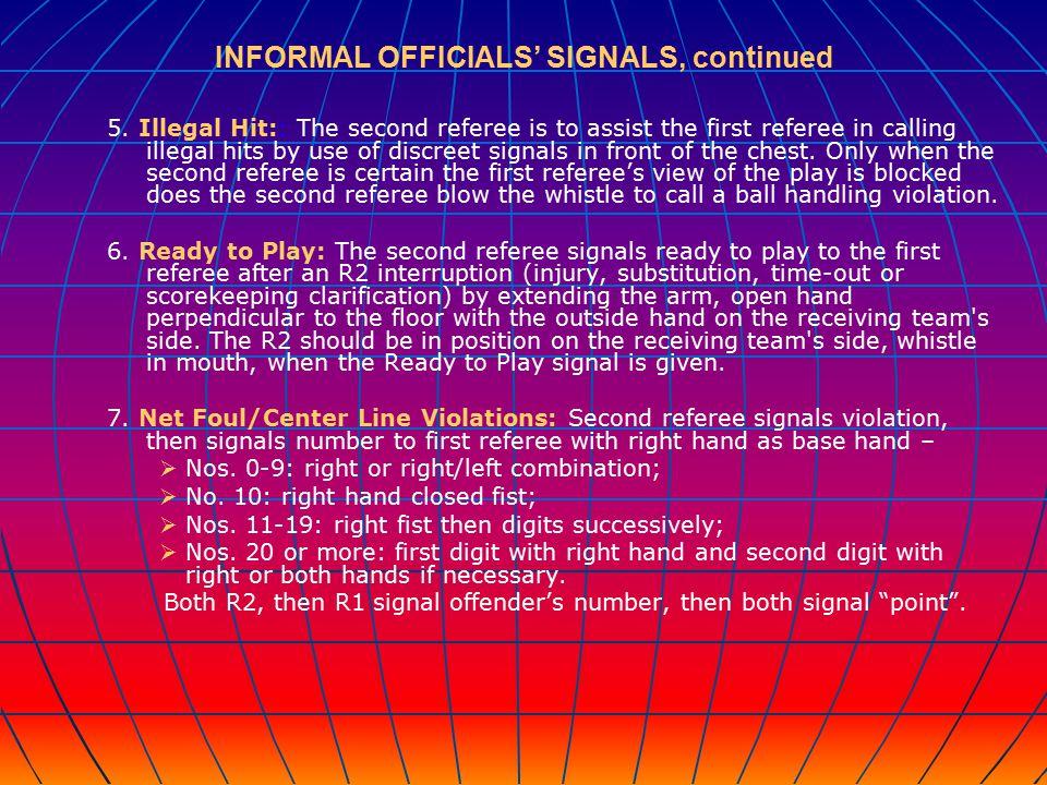 INFORMAL OFFICIALS' SIGNALS, continued 5.