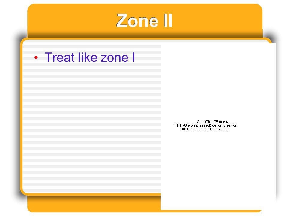 Zone II Treat like zone I