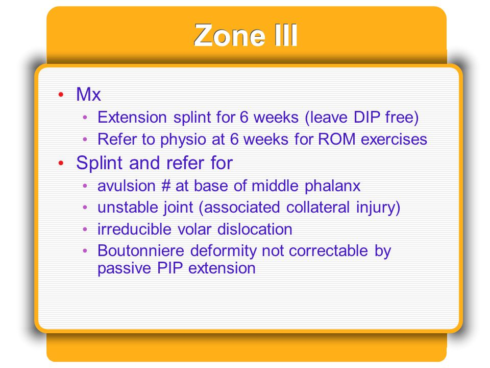 Zone III Mx Extension splint for 6 weeks (leave DIP free) Refer to physio at 6 weeks for ROM exercises Splint and refer for avulsion # at base of midd