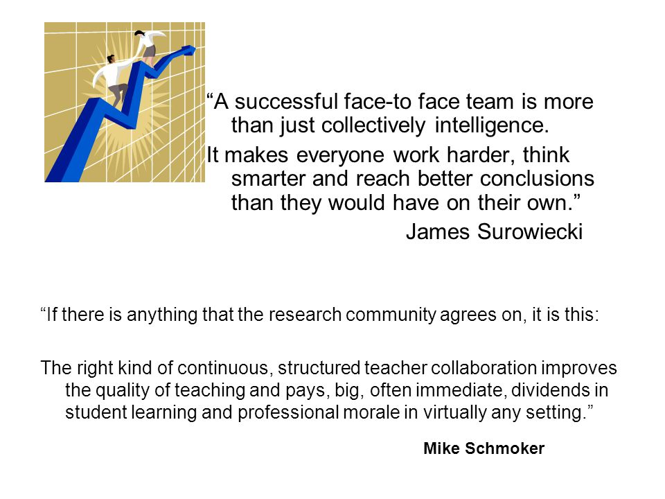 """""""A successful face-to face team is more than just collectively intelligence. It makes everyone work harder, think smarter and reach better conclusions"""