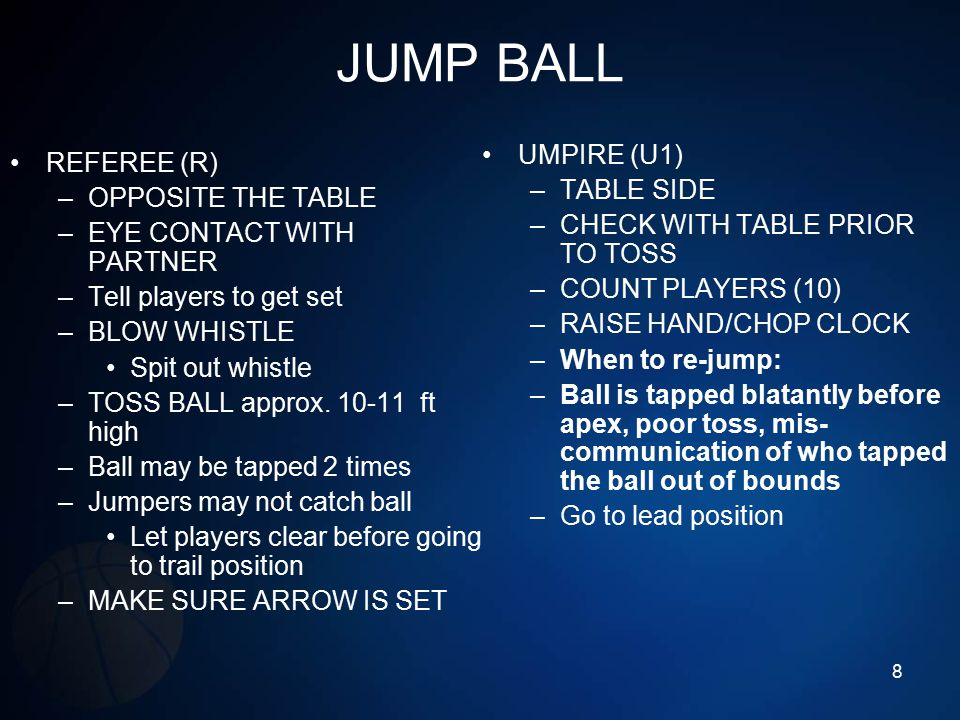 JUMP BALL REFEREE (R) –OPPOSITE THE TABLE –EYE CONTACT WITH PARTNER –Tell players to get set –BLOW WHISTLE Spit out whistle –TOSS BALL approx. 10-11 f