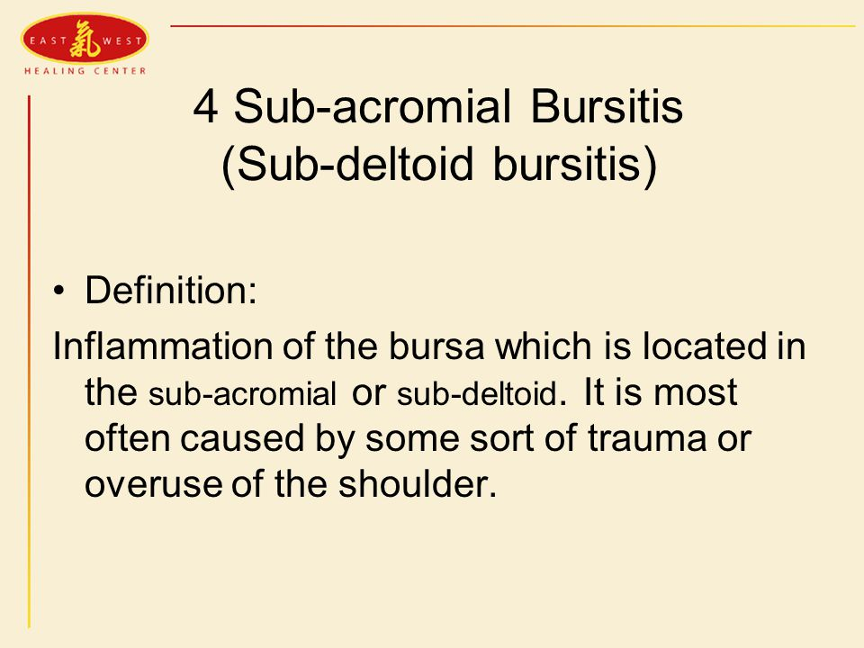 4 Sub-acromial Bursitis (Sub-deltoid bursitis) Definition: Inflammation of the bursa which is located in the sub-acromial or sub-deltoid.
