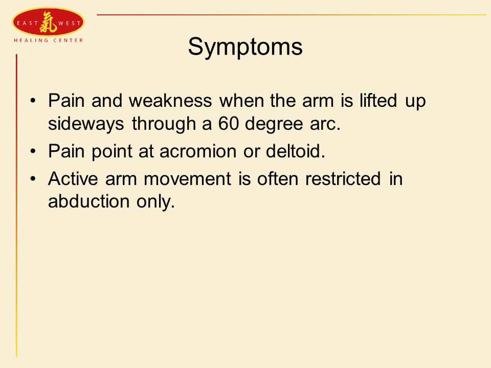 Symptoms Pain and weakness when the arm is lifted up sideways through a 60 degree arc.