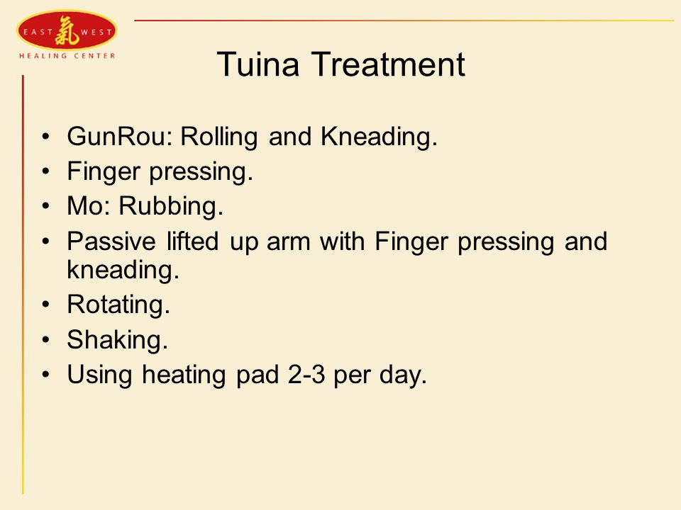 Tuina Treatment GunRou: Rolling and Kneading. Finger pressing.