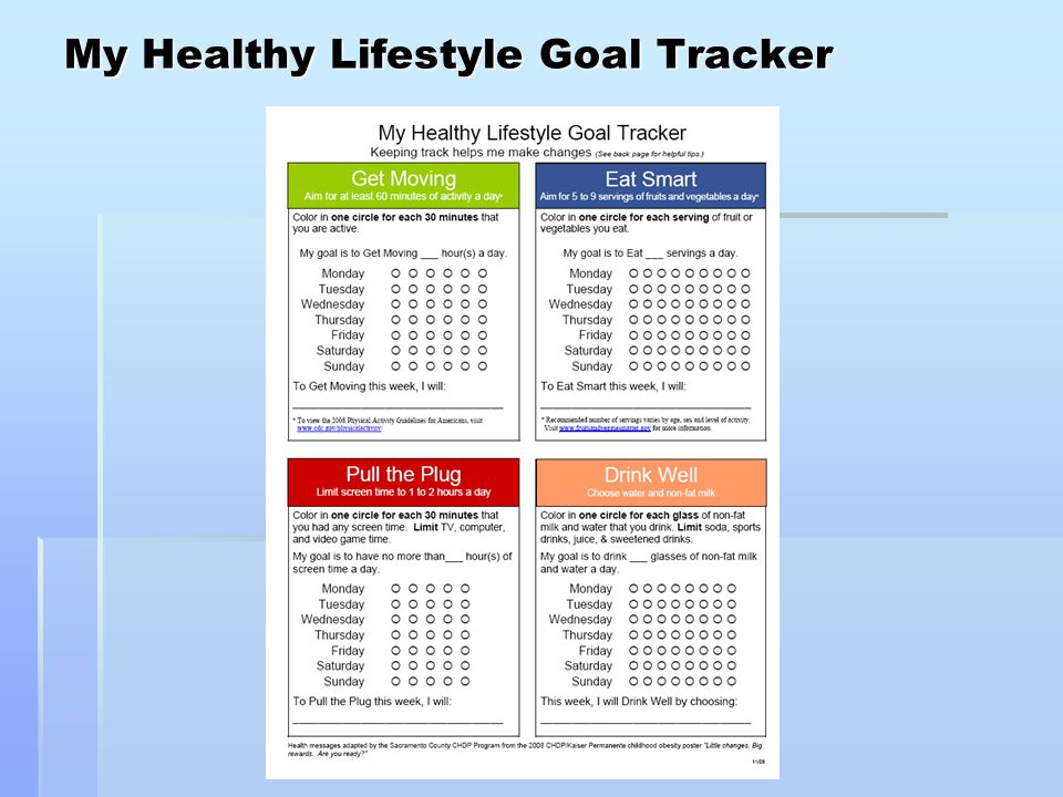 My Healthy Lifestyle Goal Tracker