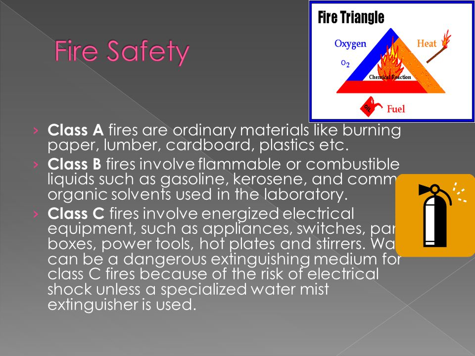 › Class A fires are ordinary materials like burning paper, lumber, cardboard, plastics etc.