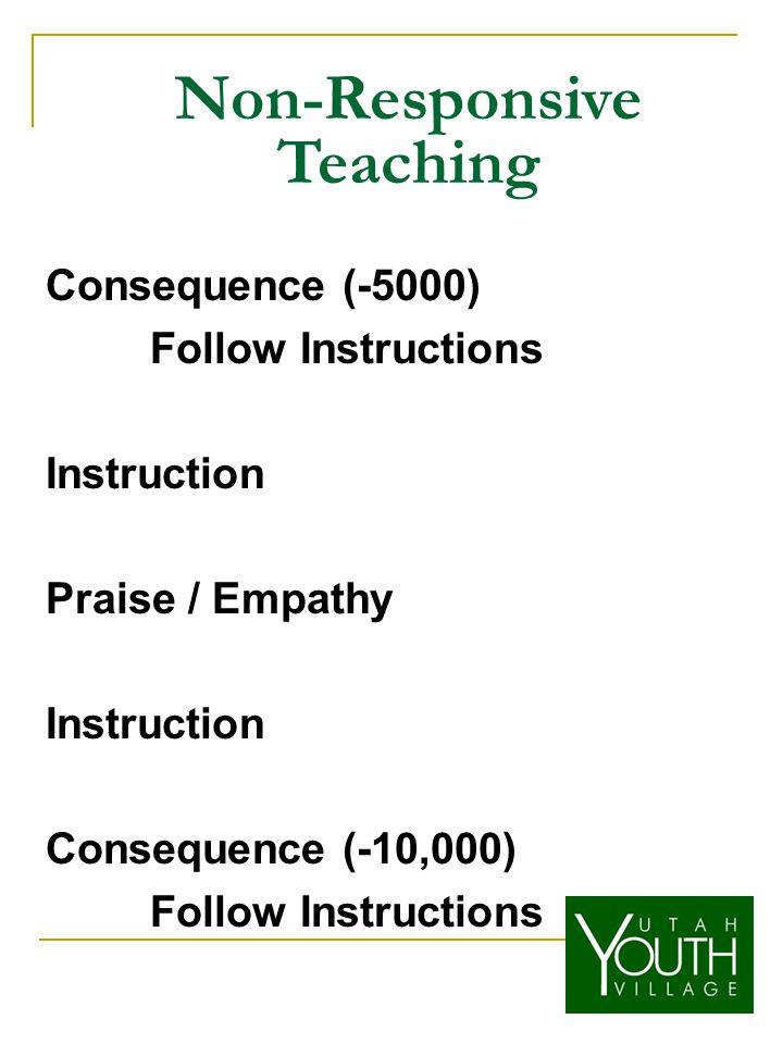 Non-Responsive Teaching Consequence (-5000) Follow Instructions Instruction Praise / Empathy Instruction Consequence (-10,000) Follow Instructions