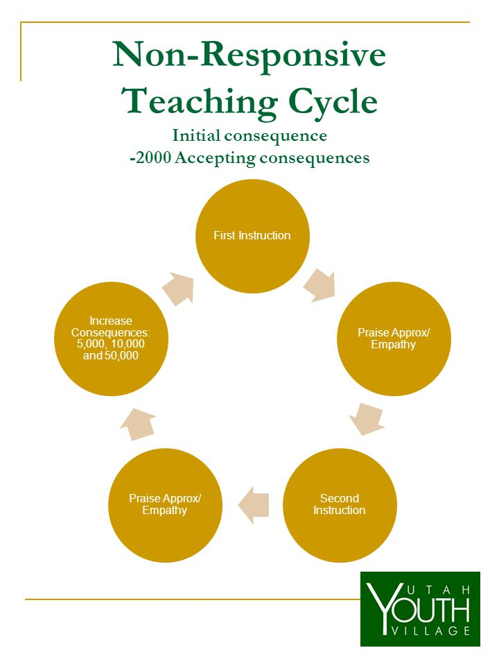 Non-Responsive Teaching Cycle Initial consequence -2000 Accepting consequences First Instruction Praise Approx/ Empathy Second Instruction Praise Approx/ Empathy Increase Consequences: 5,000, 10,000 and 50,000