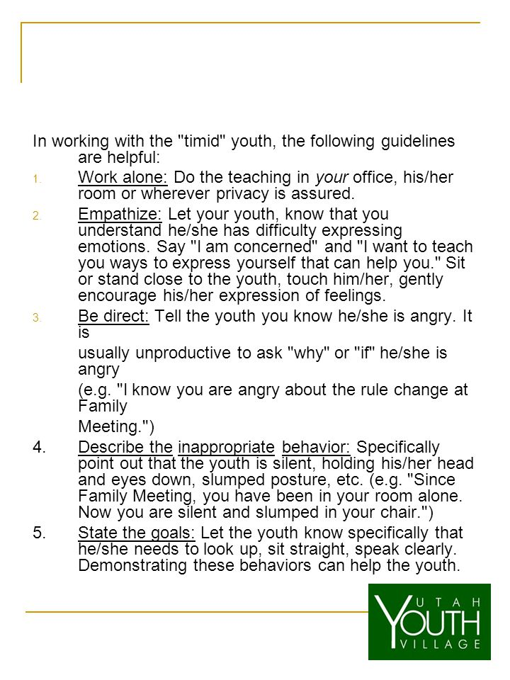 In working with the timid youth, the following guidelines are helpful: 1.