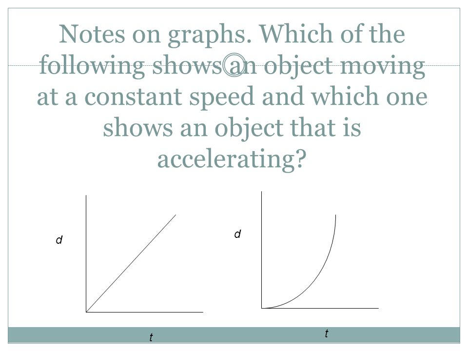Notes on graphs. Which of the following shows an object moving at a constant speed and which one shows an object that is accelerating? d t t d