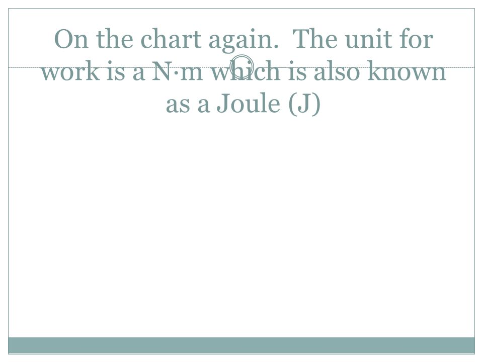 On the chart again. The unit for work is a N·m which is also known as a Joule (J)