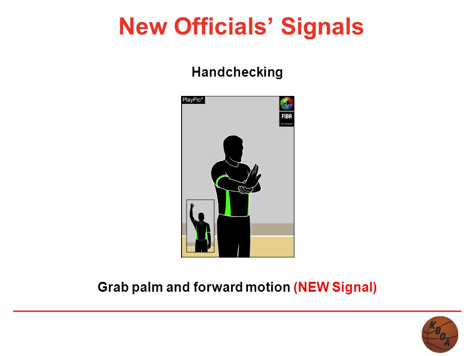 New Officials' Signals Handchecking Grab palm and forward motion (NEW Signal)