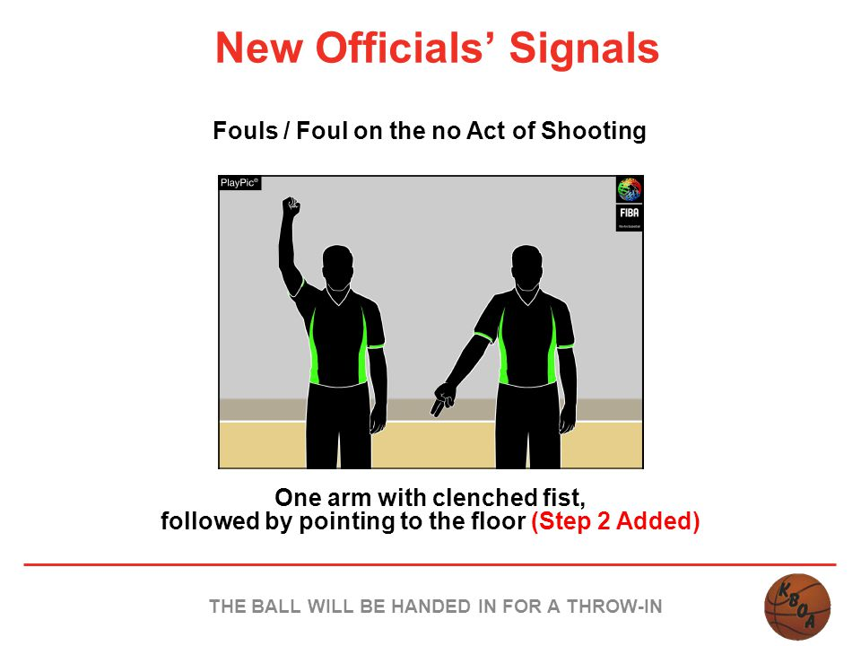 New Officials' Signals Fouls / Foul on the no Act of Shooting One arm with clenched fist, followed by pointing to the floor (Step 2 Added) THE BALL WI