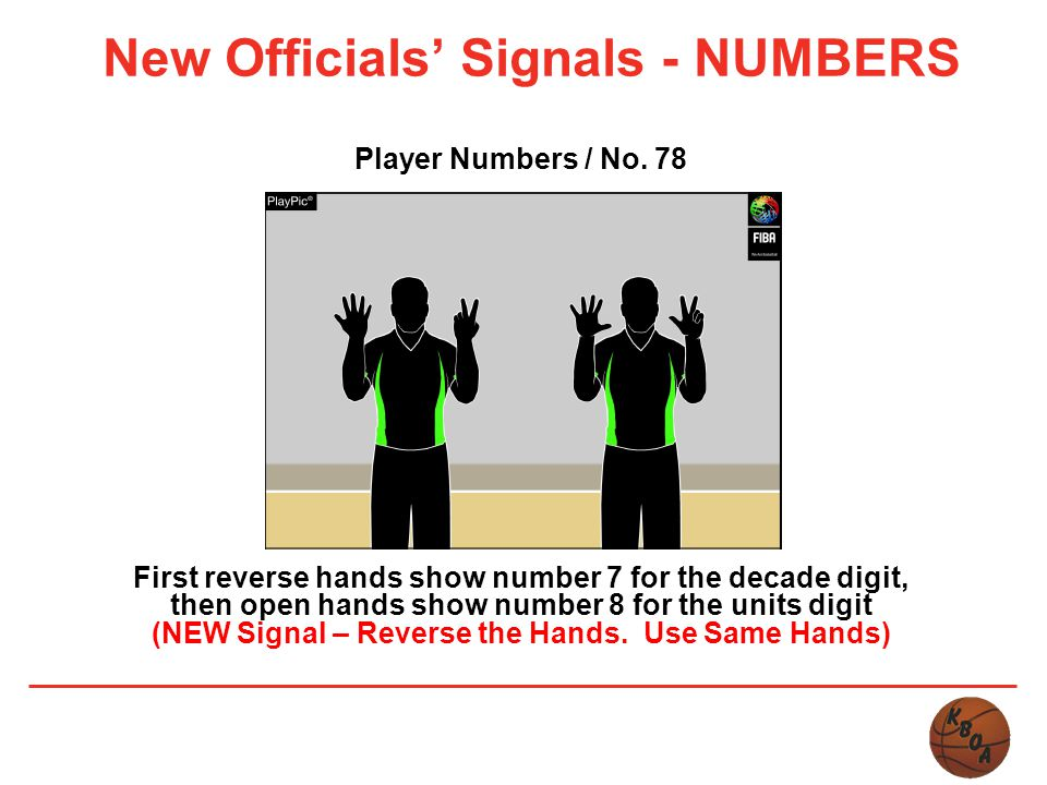 New Officials' Signals - NUMBERS Player Numbers / No. 78 First reverse hands show number 7 for the decade digit, then open hands show number 8 for the