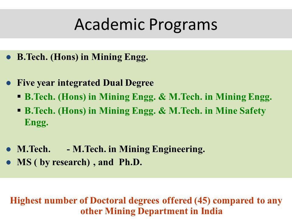 Academic Programs B.Tech. (Hons) in Mining Engg. Five year integrated Dual Degree  B.Tech.